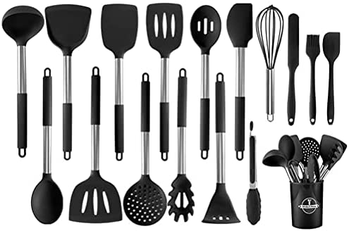 Cooking Utensils Set, Kitchen Utensils 17pcs Cooking Utensils Set, Heat Resistant Non-stick Silicone Kitchen Spatula Set with Stainless Steel Handle (BPA Free, Non Toxic)