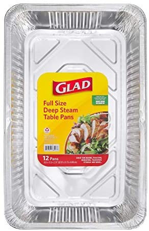"""Glad Disposable Bakeware Deep Steam Full Size Aluminum Pans for Baking, Roasting, Reheating, Transportation, Storage and More 