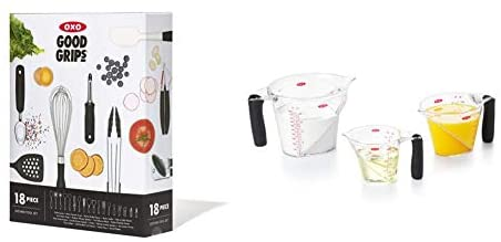 OXO Good Grips 18-Piece Everyday Kitchen Utensil Set & 3-Piece Angled Measuring Cup Set