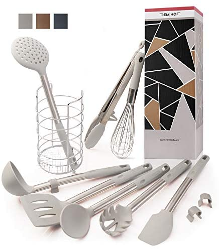 REMIHOF Silicone Kitchen Utensil 9-Piece Set of Nonstick Silicone and Sturdy Stainless Steel - Spatula Turner Ladle Pasta Server Whisk Tongs Holder - Best Culinary Gift Set (9 PCS, Grey)