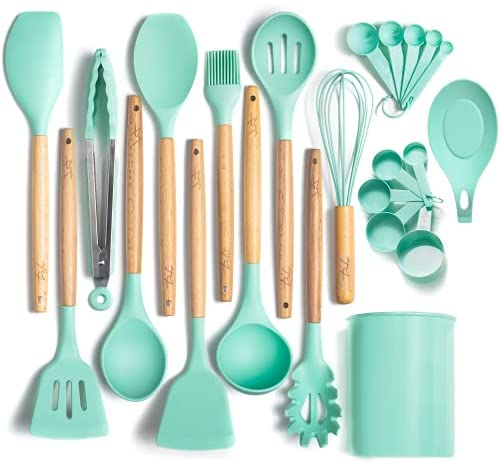 Three-Sixty Home ODORLESS 13 Pc Silicone Cooking Utensils Set with Holder (Mint/Turquoise/Blue, Wood Handle) - Kitchen Gift Cookware Tools and Utensils Sets w Spatula Tool, Spoons | Silicone Wooden