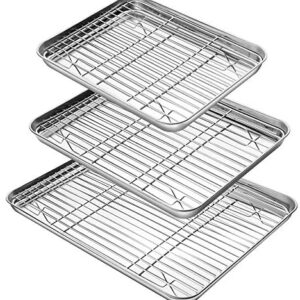 YIHONG Baking Sheet with Rack Set (3 Sheets+3 Racks), 3 Size Cookie Sheets for Baking Use, Stainless Steel Baking Pans with Cooling Racks, Non-toxic, Easy Clean, Dishwasher Safe