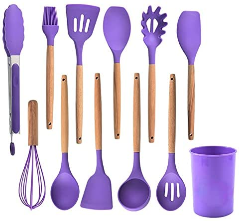 12pcs Silicone Cooking Kitchen Utensil Set with Holder - Wooden Handles Silicone Kitchen Gadgets, Heat Resistan Kitchen Tools BPA-Free for Nonstick Cookware