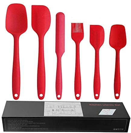 JAYCIK 6PC Silicone Spatula Set,Heat Resistant Rubber Spoon oil brush,BPA Free,Multi-purpose Non-Stick for Cooking Baking Mixing Kitchen Utensils(Red)