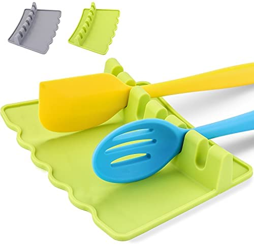 Silicone Spoon Rest for Kitchen Counter - 6 Slot with Widen Drip Pad Anti-slip Heat Resistant BPA-Free Rest Holder Grill Utensil Rest Kitchen Utensil Rest Spoon Holder for Stove Top (Green)